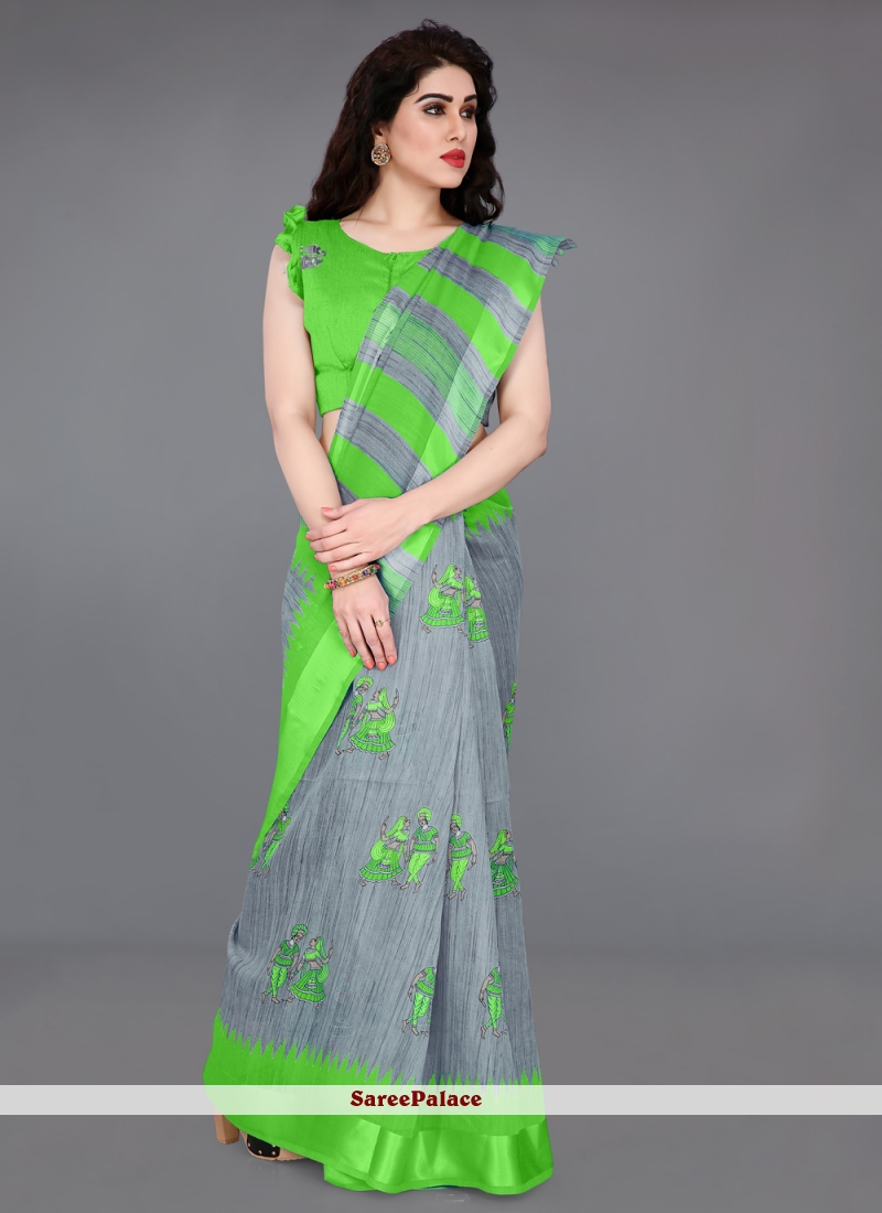 Green and Grey Party Classic Saree