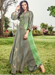 Green and Grey Print Party Wear Kurti
