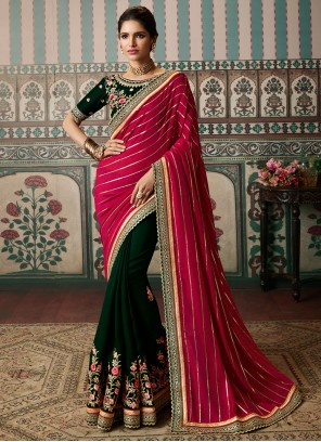 Green and Hot Pink Festival Vichitra Silk Designer Half N Half Saree