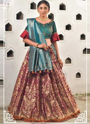 Green and Magenta Art Banarasi Silk Lehenga Choli