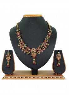 Green and Maroon Stone Work Necklace Set