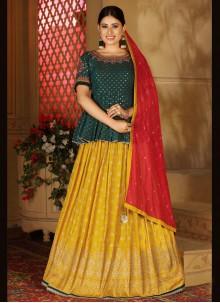 Green and Mustard Mehndi Banarasi Silk Readymade Lehenga Choli