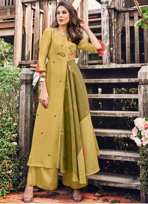 Green and Mustard Print Fancy Fabric Party Wear Kurti