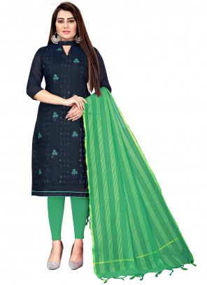 Green and Navy Blue Festival Chanderi Cotton Churidar Suit