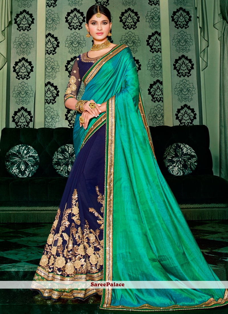 Green and Navy Blue Patch Border Work Georgette Designer Half N Half saree