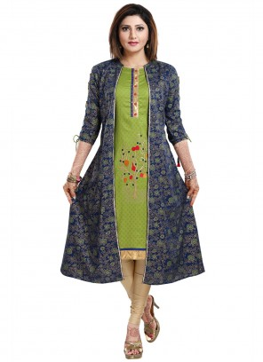 Green and Navy Blue Print Party Wear Kurti