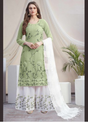 Green and Off White Faux Georgette Designer Palazzo Salwar Kameez