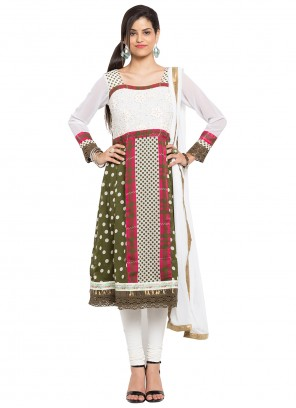 Green and Off White Readymade Anarkali Salwar Suit