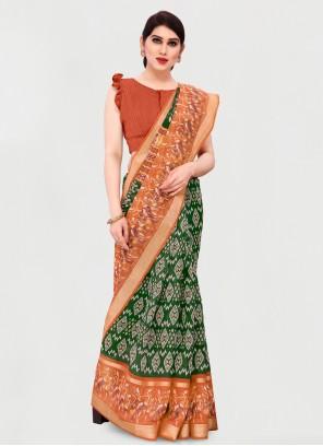 Green and Orange Cotton Printed Saree