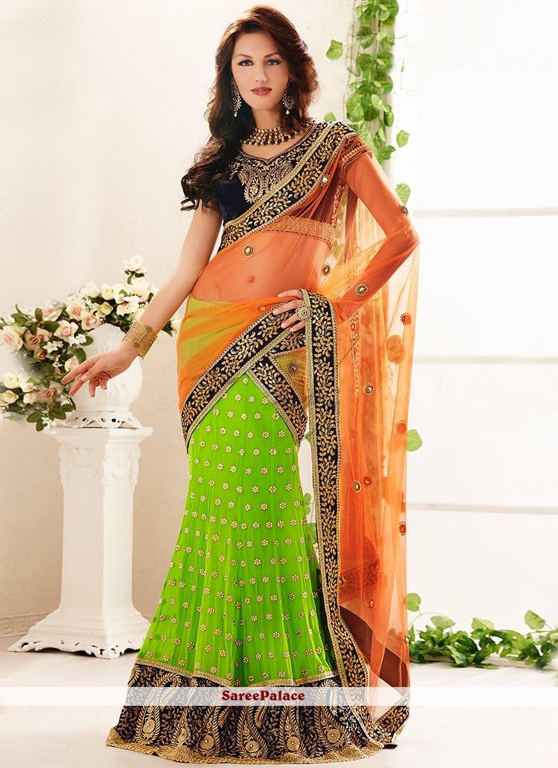 2c7859e5fd Buy Green And Orange Embroidered Lehenga Style Saree Online