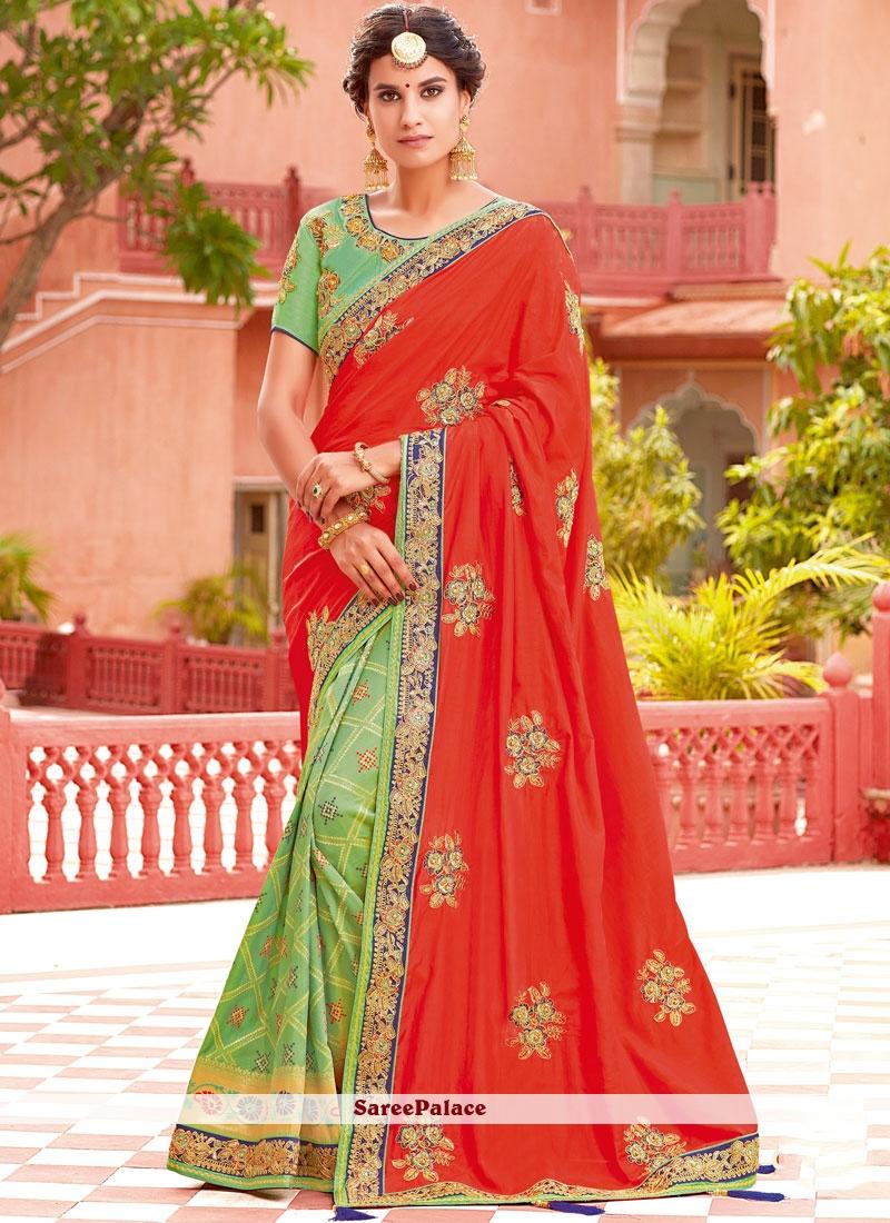 Green and Orange Half N Half Designer Saree
