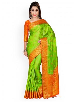 Green and Orange Zari Work Designer Traditional Saree