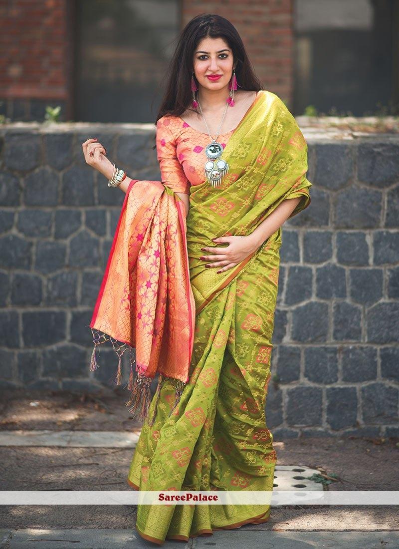 Green and Peach Weaving Work Banarasi Silk Classic Saree