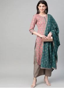 Green and Pink Mehndi Cotton Salwar Kameez