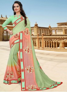 Green and Pink Resham Classic Designer Saree