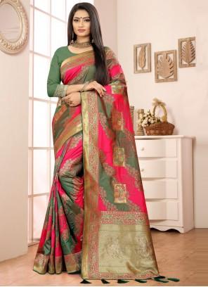 Green and Pink Sangeet Banarasi Silk Designer Traditional Saree