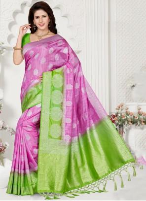 Green and Pink Weaving Silk Classic Saree