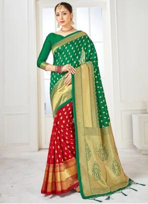 Green and Red Art Banarasi Silk Half N Half Designer Saree