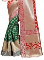 Green and Red Cotton Silk Classic Designer Saree