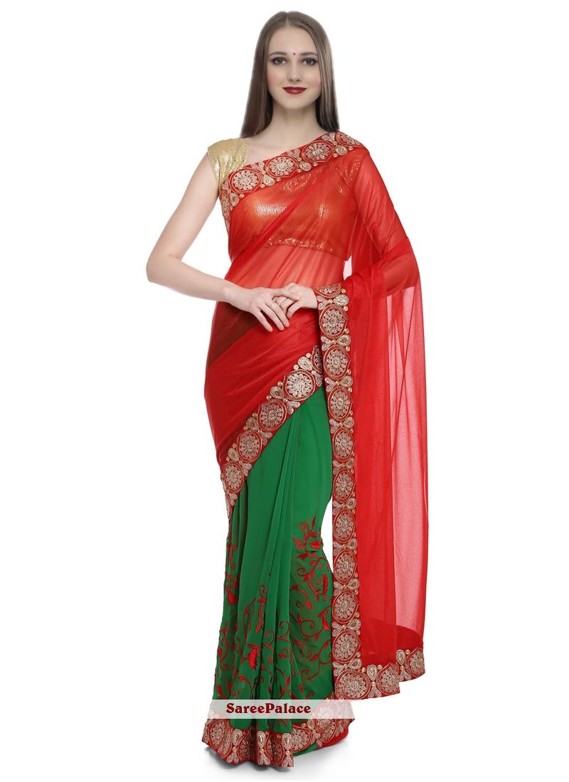 Green and Red Designer Half N Half Saree