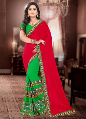 Green and Red Embroidered Half N Half  Saree