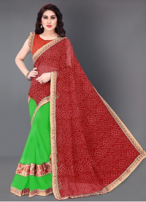 Green and Red Festival Designer Half N Half Saree