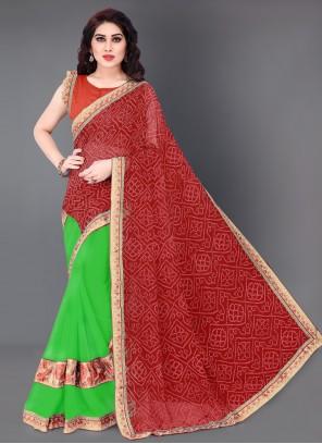 Green and Red Festival Designer Half N Half Saree