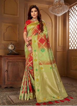 Green and Red Sangeet Bollywood Saree