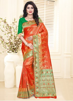 Green and Red Silk Party Designer Traditional Saree
