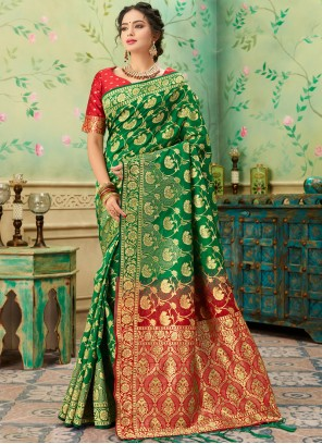 Green and Red Weaving Party Casual Saree