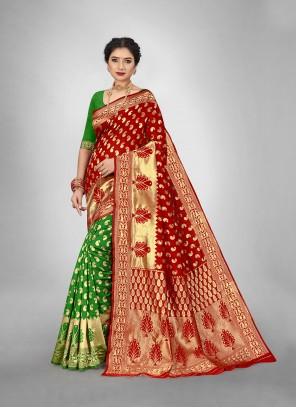 Green and Red Weaving Reception Half N Half  Saree