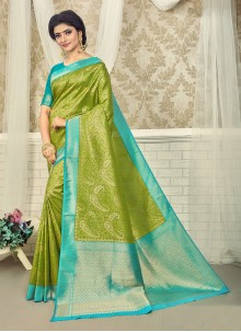 Green and Turquoise Party Art Silk Saree