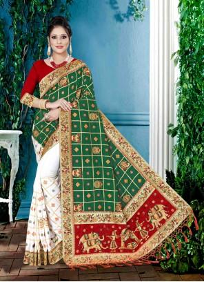 Green and White Designer Half N Half Saree