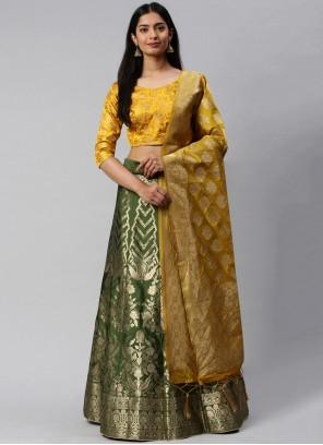 Green and Yellow Banarasi Silk Mehndi Lehenga Choli