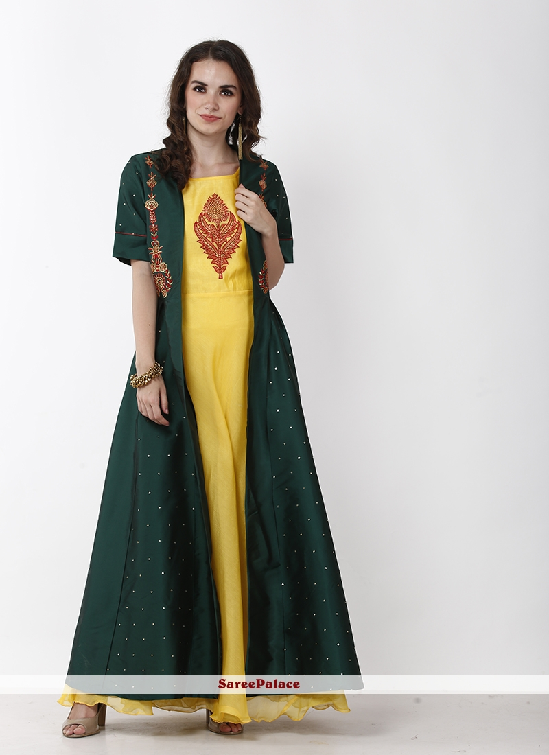 Green and Yellow Chanderi Festival Layered Designer Gown