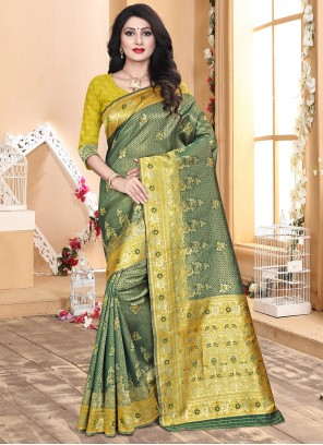 Green and Yellow Engagement Designer Traditional Saree