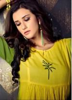 Green and Yellow Rayon Party Wear Kurti