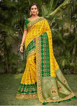 Green and Yellow Resham Silk Traditional Saree
