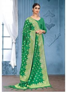 Green Art Banarasi Silk Designer Dupatta