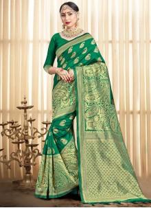 Green Art Banarasi Silk Designer Traditional Saree