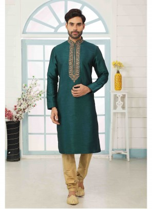 Green Art Banarasi Silk Kurta Pyjama