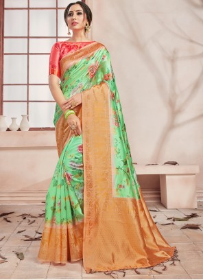 Green Art Banarasi Silk Printed Saree