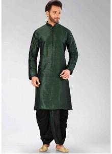 Green Art Dupion Silk Dhoti Kurta