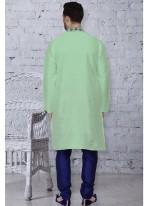 Green Art Dupion Silk Embroidered Kurta Pyjama
