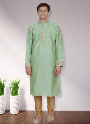 Green Art Dupion Silk Festival Kurta Pyjama