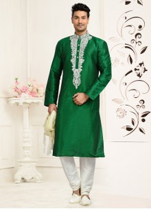 Green Art Dupion Silk Kurta Pyjama