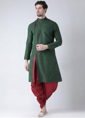 Green Art Dupion Silk Plain Kurta Pyjama