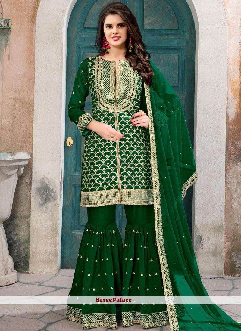 Green Art Silk Designer Pakistani Suit