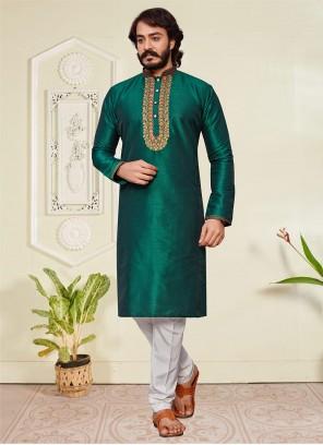 Green Art Silk Embroidered Kurta Pyjama