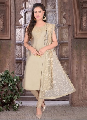 Green Art Silk Embroidered Readymade Suit